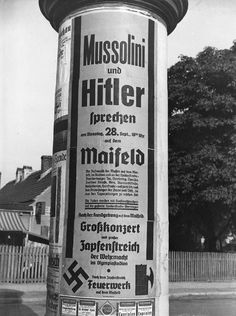 Associated Press: Ad for Mussolini and Hitler's speech on Sep 28, 1937 at the Maifeld, Berlin.