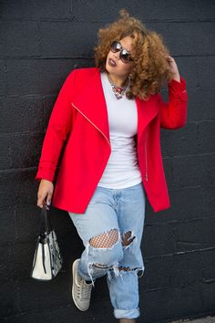 Fashion blogger Telly Loves Fashion spotted in Fashion To Figure's Eden Buckle Sleeve Coat $58.99 | A vivid hue and chic buckle details on the Eden plus size coat upgrade your outerwear collection with a modern edge. Collarless neckline, zip front closure, long sleeves with double buckle cuffs.