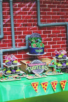 Teenage Mutant Ninja Turtle Birthday Ideas, DIY Teenage Mutant Ninja Turtle Party, Creative and Fun TMNT Birthday Party, Ninja Turtle Party, Ninja Turtles, Ninja Party, Ninja Turtle Birthday, Ninja Turtle Cupcakes, Dinosaur Birthday, Turtle Birthday Parties, Birthday Ideas, 4th Birthday