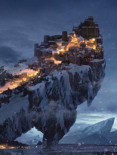 Fantasy Landscape Art Snow Ideas For 2019 Fantasy Kunst, Fantasy City, Fantasy Castle, Fantasy Places, Medieval Fantasy, Fantasy World, Fantasy Forest, Dark Fantasy, Fantasy Art Landscapes
