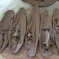 Clay works in progress by Kathy Boyland, artisan at Maryland Renaissance Festival. Ceramic Wall Art, Ceramic Clay, Pottery Place, Clay People, Hand Built Pottery, Ceramic Figures, Pottery Classes, Polymer Clay Projects, Sculpture Clay
