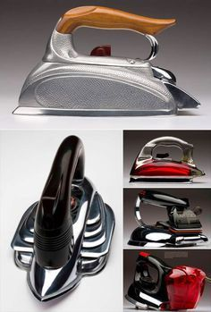 streamlined steam irons 1930s and 40s ( retro home / vintage appliance / art deco )