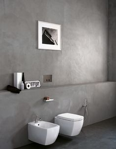 18 Ideas For Bathroom Scandinavian Design Wabi Sabi Cement Bathroom, Cement Walls, Bathroom Toilets, Concrete Floors, Bathroom Faucets, Bad Inspiration, Bathroom Inspiration, Interior Inspiration, Chalet Design