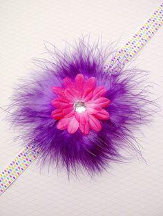 Flower Feather Headband Baby Girls Hair Bows by SweetLittleAleena, $6.50