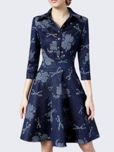 Printed Stylish Polo Collar Skater-dress