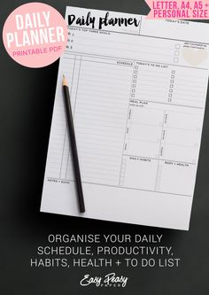 Daily Planner Printable day organizer A4 daily by EasyPeasyPaper