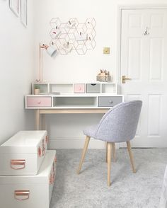 Child's Chill Out Room - GeorgieRose interior design cheltenham Pastel Room Decor, Rose Gold Room Decor, Cute Room Decor, Rose Gold And Grey Bedroom, Rose Gold Rooms, Home Office Inspiration, Room Inspiration, Office Ideas, Home Office Design