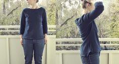 chevron yoke blouse