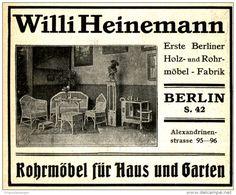 Original-Werbung/ Anzeige 1910 - ROHRMÖBEL WILLI HEINEMANN - BERLIN - ca. 100 x…
