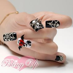 Black Nail Tips with Large 3d Spider Nail Art and 3d by Blingup (Etsy)