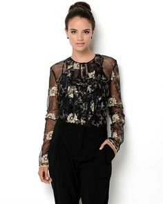 A Voce Dance Gear ....... Ivanka Trump Sheer Embroidered  Blouse