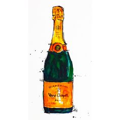 Watercolour and ink painting of a Veuve Clicquot bottle we drank celebrating being three years cancer free