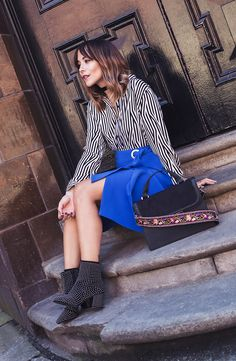 Team a statement shirt with cool cobalt, studded ankle boots and AW16's hottest bag, just like Megan Ellaby #StyleHeroes