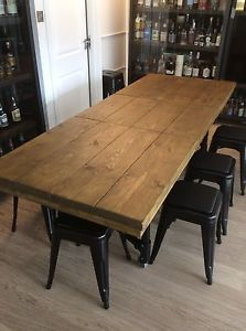 Corinne Recycled Grey Washed Scaffolding Board Dining Table With Steel Hairpin Legs