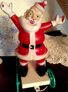 "Vintage Rosen/Rosbro Santa 10"", Cart W/ Heart Cut Out Wheels Candy Container, Missing wreath in hands"