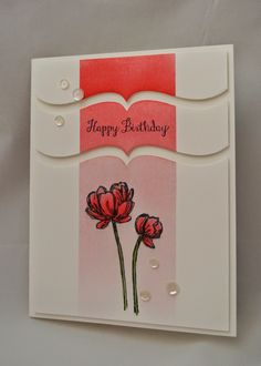 handmade card from My Simple Escape: Clean & Simple Die-cutting ... luv how she used a bracket border de to cut the main panel into three sections ... great use of ombré inking .... great card!