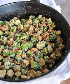 Fried Okra Recipe...The secret is to use a cast iron skillet and brown first on stovetop and then finish it off in oven.