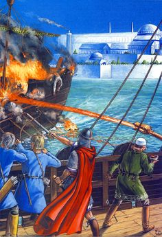 Byzantine Greek Fire in battle Naval History, Military History, Byzantine Army, Abbasid Caliphate, Greek Soldier, Sassanid, Medieval World, Early Middle Ages, Fantasy Castle