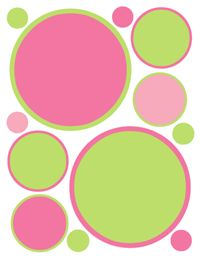 Pink and Green Polka Dot Wall Decals for baby girl nursery or kids room. Two shades of pink and lime green makes a beautiful combination. #decampstudios http://decampstudios.blogspot.com/2013/07/pink-green-polka-dots-wall-decals.html