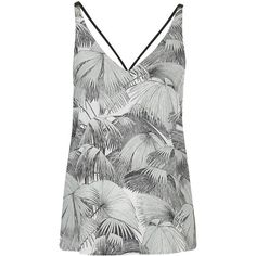 TopShop Palm Print Double Strap v-Front Cami (£24) ❤ liked on Polyvore featuring intimates, camis, mint, polyester camisole, strappy cami and topshop