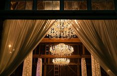 Fabulous Fall Farm Wedding in New Hampshire ~ beautiful chandeliers and fabric draped pillar with twinkle lights = perfection; reception barn and Bishop Farm Farm Wedding, Diy Wedding, Rustic Wedding, Wedding Photos, Wedding Lighting, Event Lighting, Twinkle Lights, String Lights, Draped Fabric