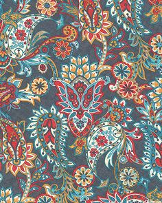 Kashmir - Mountain Flower Paisley - Stonewash Blue from the 'Kashmir' collection by Rosemarie Lavin Design for Windham Fabrics