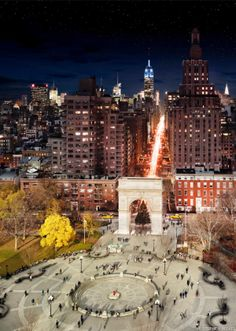 """""""Here, sunshine creeps over Washington Square Park in New York City while Fifth Avenue remains enveloped in darkness."""""""