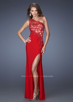 Long Red Prom Dresses | ... Long Dress :: Red One Shoulder La Femme 19934 Slit Jeweled Lace Prom