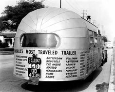 Airstream Trailer World's Most Traveled Trailer Repro Postcard Airstream Travel Trailers, Vintage Travel Trailers, Camper Trailers, Vintage Campers, Rv Campers, Happy Campers, Cool Rvs, Tin Can Tourist, Rv Truck