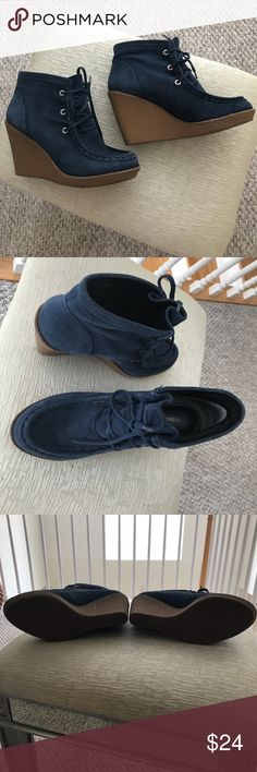 """Blue Suede Bootie Blue suede wedge bootie.  Very comfy. Ties in the front with a stitching in the front of boot.  Perfect with a pair distressed jeans. No damage 4"""" wedge. Worn a couple of times. Rebecca Minkoff Shoes Ankle Boots & Booties"""