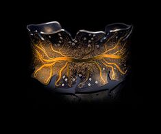 Bracelet | Namu Cho. 'Electro' 24K fused on Sterling Silver, 32 White Diamonds