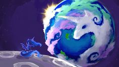 My Little Pony - Princess Luna - banished to the moon - watching Princess Celestia on the Earth