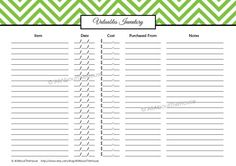 Valuables Inventory - Chevron - Printable - Home Maintenance and Inventories - Household Binder Printables http://allaboutthehouseblog.wordpress.com/