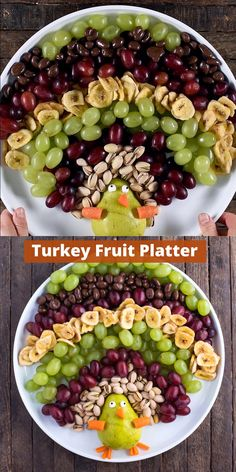 Turkey Fruit Platter This is such a fun and healthy Thanksgiving appetizer – make a turkey shaped fruit platter! Turkey Fruit Platter, Thanksgiving Platter, Fruit Turkey, Thanksgiving Drinks, Thanksgiving Appetizers, Fruit Plate, Thanksgiving Turkey, Fruit Appetizers, Healthy Appetizers