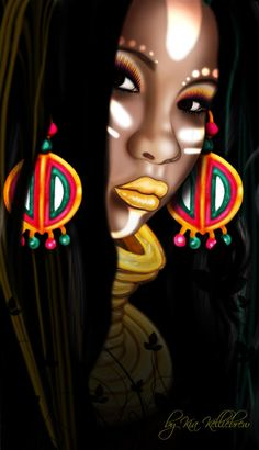 african asian art | African Princess Digital Art