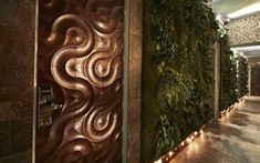 multi-layer wall covering of real wooden veneers. Deco Design, Wood Design, Design Moderne, Creative Architecture, Architecture Design, Wall Cladding Designs, Panneau Mural 3d, 3d Wall Decor, 3d Wall Panels