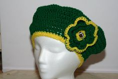 Crochet Beret Crochet Hat Green trimmed with by DandHspecialties