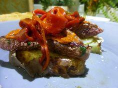 Pinchito de solomillo, patata y pimientos