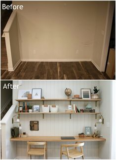 How We Transformed a Blank Wall into a Useful Office Nook Office Shelf, Office Nook, Home Office Space, Office Walls, Home Office Decor, Office Spaces, Office Ideas, Home Decor, Dining Room Office