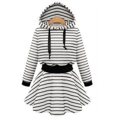 Yoins Plus Size White Stripe Hooded Skater Dress ($29) ❤ liked on Polyvore featuring dresses, black, plus size day dresses, women plus size dresses, fitted skater dress, womens plus dresses and nautical striped dresses