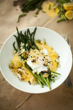 Asparagus poached eggs polenta
