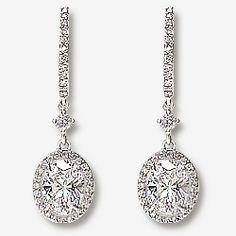 Elyse Huggie Top 1 0 Carat Oval Drop Halo Earrings 2 5 Ct Tw