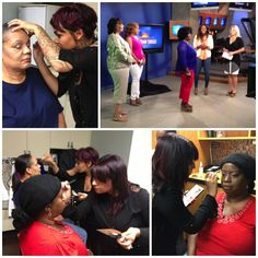 Bellus Academy Students Kameron and Monique in action today on Wake Up San Diego! Great job representing the Bellus Team! #beauty #makeup #backstage