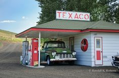 Chevrolet Truck in old gas station - these use to be dotted all across the USA.