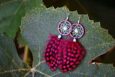 Blue and Red Stripe Dream Catcher Earrings by nZuriArtDesigns