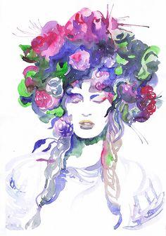 Girl art print ,Ukrainian, watercolor painting, national costume, illustration, art print, girl painting, flower girl