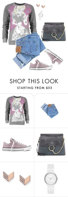 """Converse"" by tina-pieterse ❤ liked on Polyvore featuring Levi's, Converse, Chloé, FOSSIL and DKNY"