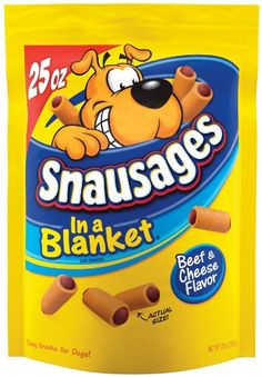 Snausages in a Blanket Snacks for DogsChewy, savory, irresistible Snausages in a Blanket are the bite-sized snack that's fun to treat. Your dog will love the big meaty taste and the cute sausage shape. And, here's a hint. When your dog needs to take his medicine, just stuff the pill down into the soft, chewy Snausages. Resealable packages keep the Snausages fresh and chewy. Sausage in a bl ...