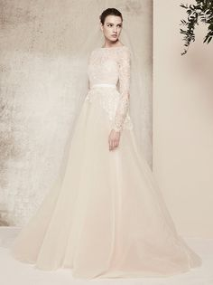 Elie Saab is one of the countless designers we provide at L'elite, Boston's top bridal boutique. Elie Saab gowns are known for their worldly integration. Chic Wedding Dresses, Wedding Dressses, Modest Wedding Gowns, Wedding Dress Trends, Bridal Dresses, Dress Wedding, Lace Wedding, Elie Saab Wedding Dresses, Ellie Saab Wedding