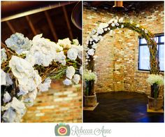 Greg & Kelsey's wedding at Historic 1625 in Tacoma by local Tacoma Wedding Photographer, Rebecca Anne Photography. #weddingceremony #arch #weddingarch #weddingdecor #paperflowers